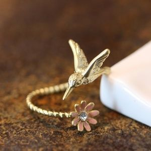 Tiny Gold Hummingbird ring with Pink flower.